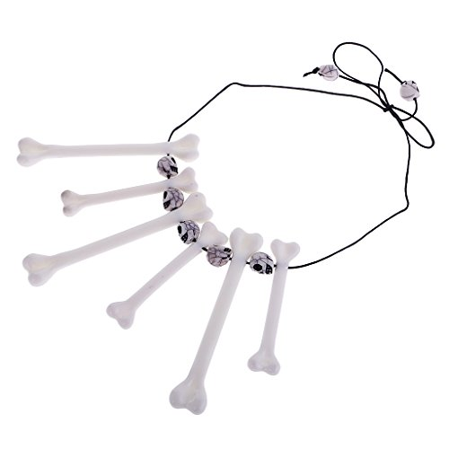 on Schädel Knochen Halskette Halloween Schmuck Fancy Dress - Weiß ()