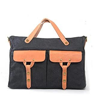 QIAO FDS Europe and the United States men's leather canvas Messenger bag handbag shoulder casual briefcase, dark gray