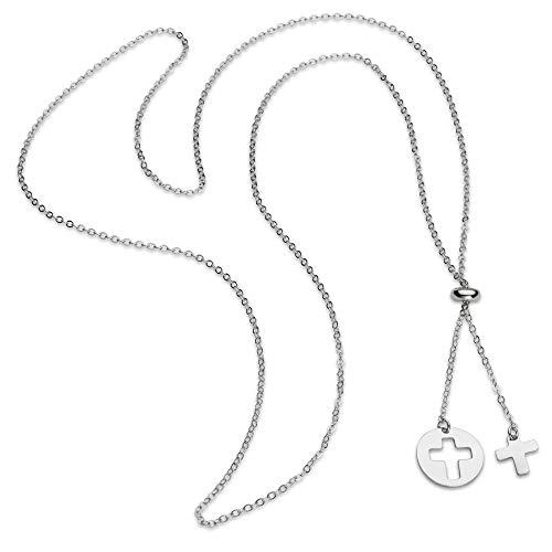 brilliantme | Damen Halskette | 925 Sterling Silber | Kreuz Anhänger | 80 cm Länge | Inkl. Poliertuch für Silber Schmuck | 26015