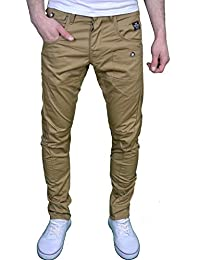 Crosshatch Jean chino coupe classique jambe fuselée couture twisted pour homme