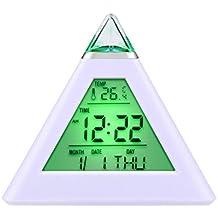 [Regalos] HAMSWAN Despertadores Reloj Despertador Cambinado Entre 7 Colores con 8 Tonos Regalo y la Fecha Reaciona Automáticamente Temperatura