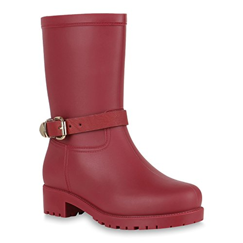 Damen Gummistiefel Metallic Boots Blockabsatz Stiefel 150955 Dunkelrot 41 Flandell