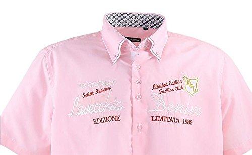 Übergrössen !!! Schickes Kurzam-Hemd LAVECCHIA 211 in Schwarz, Rosa, Kobaltblau Rosa