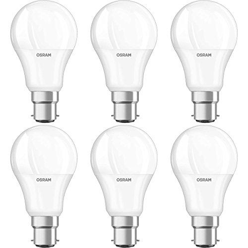 OSRAM LED STAR Ampoule LED, Forme Classique, Culot B22, 9,5W Equivalent 60W, 220-240V, dépolie, Blanc Chaud 2700K, Lot de 6 pièces