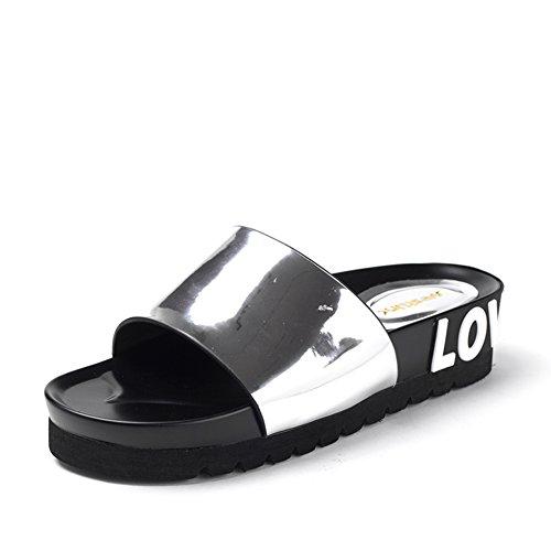 Scarpe con la suola spessa piattaforma estive/Lettera parola per sandali e ciabatte A
