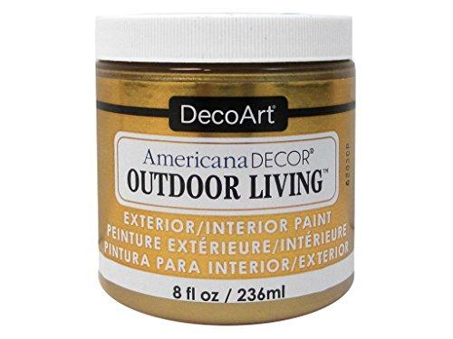 DecoArt Americana Décor Metallic Outdoor Living Flasche Farbe, Acryl, Messing, 7x 7x 8cm (Outdoor-acryl-farben)