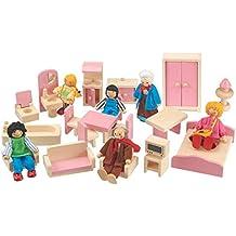 Dolls House Wooden Children's Furniture Set with Dolls, 18 Piece