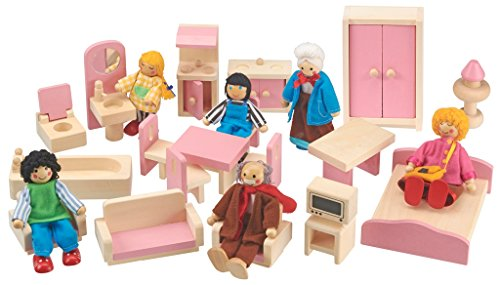 Dolls House Wooden Children�s Furniture Set with Dolls, 18 Piece