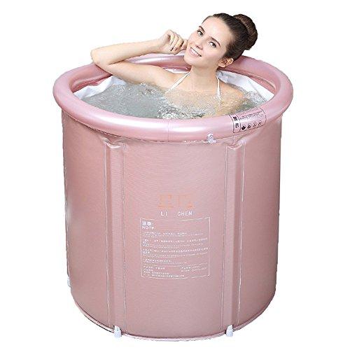FWec Aufblasbare Badewanne Erwachsener Mit Ablauf, Badewanne Bad SPA, Tragbar Faltbar Freistehende Badewanne Sauna Aufblasbare Erwachsenen-Innenwannen (Medium,pink) (Erwachsene Sauna Anzug)