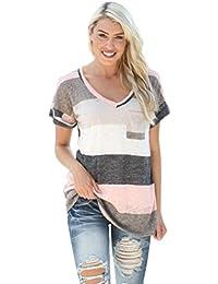 K-youth® Camiseta para Mujer, Camisa de Mujer Manga Larga V-Cuello