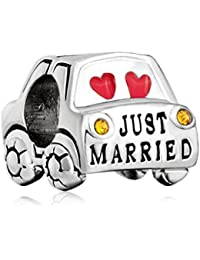 Uniqueen Just Married boda coche charms Bead Fit Pandora Pulsera