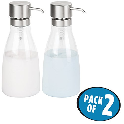 mDesign Juego de 2 dosificadores de jabón líquido en plástico – Dispensador de jabón líquido grande rellenable – Dispensador de champú, acondicionador o enjuague bucal – transparente/plateado