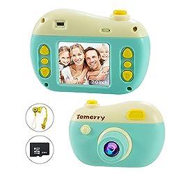 Scherzt Kamera, 2 Zoll IPS-Kinderdigitalkameras, 8MP HD Foto- / Video-Kamerarecorder, mit 32G Mikro-Sd-Karte Alter 4-12 Jahre scherzt Geburtstagsgeschenk (Grün)