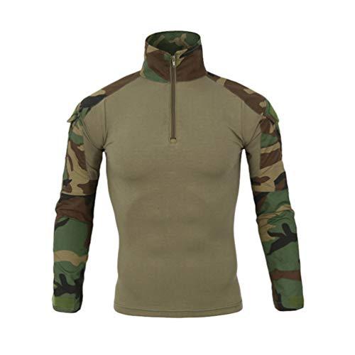 Haobing Herren Outdoor T-Shirt Militär Langarmshirt Tarnung Atmungsaktiv Slim Fit Patchwork Taktisch Hemd mit Klettverschluss (Camo #3, CN 3XL) - Tarnung-fischen-shirt