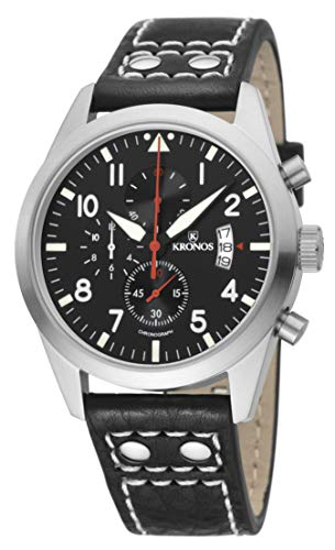 KRONOS - Pilot Sport Chronograph Black&Red 948.55R - Reloj de Caballero de Cuarzo, Correa de Piel Negra...