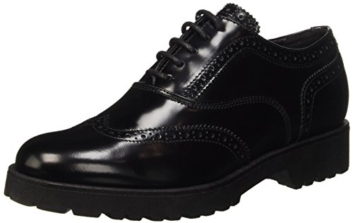 Docksteps New Sofia, Scarpe Brogue Stringate Donna, Nero, 38 EU