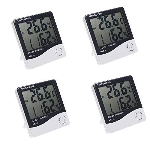 KKmoon 4PCS HTC-1 LCD Digital Temperatur Luftfeuchtigkeit Meter Hygrometer Wecker Zeit mit Halter(Deutsch Benutzerhandbuch)