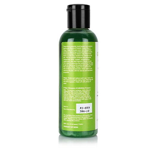 Greenberry Organics Green Clay Mud Face Wash With Goodness Of Ylang Ylang Oil Sulphates & Paraben Free (100 ml)