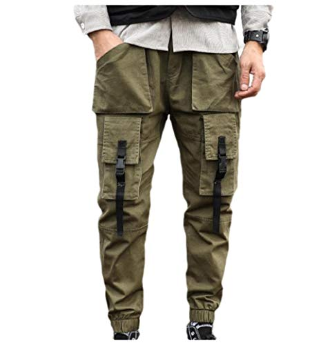 VITryst Men Casual Outdoor Slim-Tapered Skinny Multi Pockets Cargo Work Pant Green 2XL