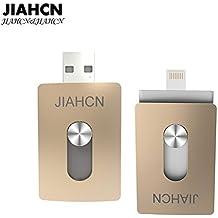 JIAHCN [Apple usb memoria] 2en1 USB Flash Drive memoria externa 16GB 32GB 64GB 128GB para Apple iPhone SE/5/5s/5c/6/6 Plus/6s/6s Plus/iPod touch 5/iPod nano 7/iPad Mini 1 2 3/ iPad 4/ Pro/ Air 1/ 2/Computadora Mac PC portátil (16GB)