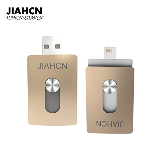 JIAHCN [Apple usb memoria] 2en1 USB Flash Drive memoria externa 16GB 32GB 64GB 128GB para Apple iPhone SE/5/5s/5c/6/6 Plus/6s/6s Plus/iPod touch 5/iPod nano 7/iPad Mini 1 2 3/ iPad 4/ Pro/ Air 1/ 2/Computadora Mac PC portátil (64GB)