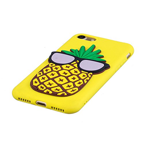 EUWLY Silicone Custodia per iPhone 7/iPhone 8 (4.7), 3D Creativo Cute Cartoon Animale Solid Modello TPU Cover Case per iPhone 7/iPhone 8 (4.7) Ultra Sottile Morbido Silicone TPU Cover Copertura Dive Ananas