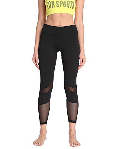 X-HERR Damen Leistung Flexibel 7/8 Trainieren Sport Leggings Yoga-Hose Schwarz Schwarz + Mesh