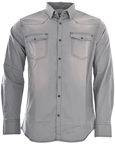 Attire Herren Jeans Hemd Freizeit Denim Langarm Black Denim Grey Jeanshemd Shirt Regular Fit (L, Stone Grey)