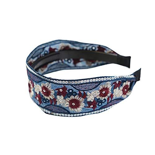 Plzlm Frauen-ethnische Art gestickte Blumen Haarband Damen Retro Zahn-Haar-Band-Mädchen-Kopfschmuck-Stirnband -