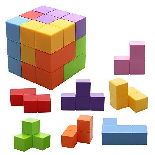 Jhua Magnetische Steine für Kinder mit 54 Smarte Teile Puzzles 3D Gehirn Training Intelligenz Stressabbau Spielzeug Spiele Quadratische Magnete Würfel (Kinder Spiele Gehirn)