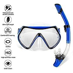 Wsobue Set de Plongée,Masque de Snorkeling Vision Panoramique à 180 ° Verre trempé,Anti-buée Anti-Fuite Respiration Libre Sangle Réglable Masque de Plongée pour Adultes(Bleu-Set de Plongée)