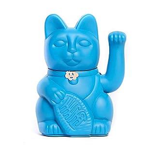 Lucky Cat. Der klassische Glücksbringer in winkender Katzengestallt oder Maneki-Neko in fröhlichen Farben. BLAU: Die Erfüllung der Träume (Seien Sie vorsichtig, was Sie fragen). 12x9x18cm