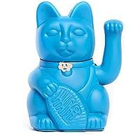 """Gatete. El clásico Gato de la Suerte o la Fortuna o Maneki-Neko en divertidos colores. AZUL PITUFO: """"Cumplir los sueños (Cuidado con lo que pides)"""" 12x9x18cm"""