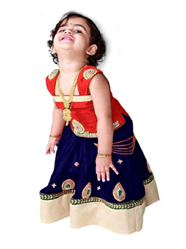 CartyShop Baby Girl's Pure Glace Cotton Red Navy Blue ReadyMade Partywear Lehenga...
