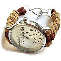 Orologio da polso acciaio donna marrone beige Bracciale ecopelle di corda Regalo divertente per lei