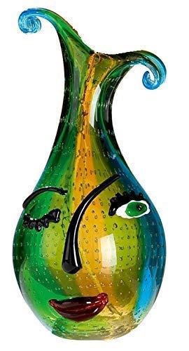 GILDE GLAS art Design-Vase - Dekoobjekt handgefertigt aus Glas H 34 cm