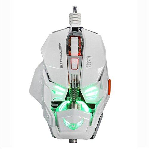 Wired Game Maus, leise klicken 8Tasten 2.4G optische USB Gaming und Office PC Mouse Ergonomische Maus mit Nano Receiver, 8-stufige DPI, LED, Energiespar-Modus doppelte für Windows 7/8 weiß (Rad-schlüssel (wired Mouse)