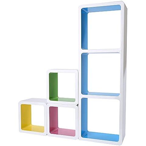 tougmoo moderno juego de 6estantes de pared flotante cubo de almacenaje decorativo unidad estantería estante de