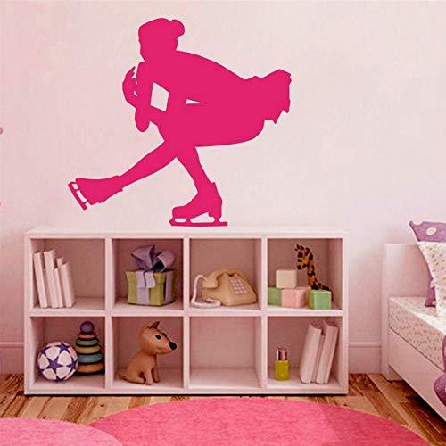 Blumen Vinyl Aufkleber Eiskunstlauf Club Sport Frau Tanzen Schlittschuhe Tapete Schule Kinderzimmer Dekoration 57 * 57 Cm