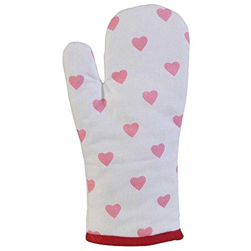 Homescapes – Pur Coton – Gant de Cuisine – Coeurs – Rouge Rose – 18 x 32 cm - Linge de Cuisine Entièrement Coordonné et Lavable
