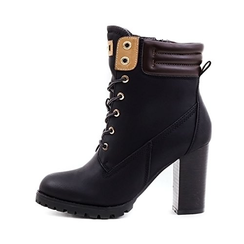 Damen Schnür Stiefel Stiefeletten Worker Boots mit Blockabsatz Schwarz Milan