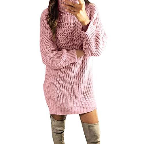 Dasongff Damen Kleider Strickkleid Winter Weihnachtspullover Pullikleid Elegant Partykleid Rollkragen Strickpullover Minikleid Pulloverkleid Sweaterkleid Langarmkleid -