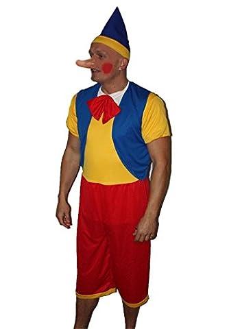 Puppet Costume Homme - Funny Pinocchio Pantin Déguisement pour adulte, Multicolore