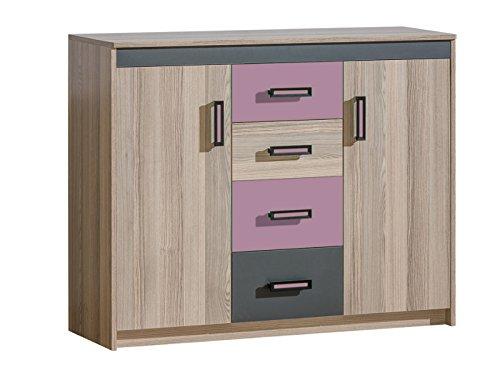 SMARTBett Kommode Timo mit 2 Türen und 4 Schubladen Esche Dunkel/Violett kommode Schlafzimmer Sideboard günstig günstige kommoden kommode kaufen hochkommode