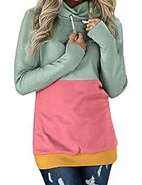 Overdose Moda Mujeres Casual Color Block Manga Larga Sudadera Jumper Pullover Blusa Top Lady Tops