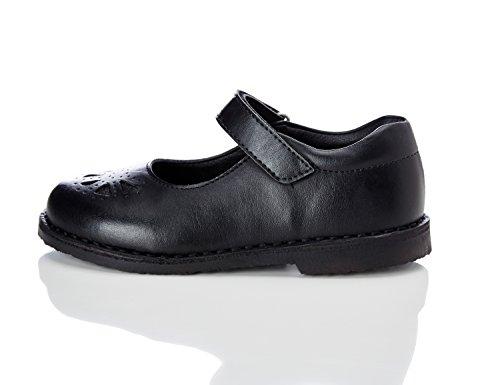 RED WAGON Zapato Calado Tira Velcro Niña, Negro Black