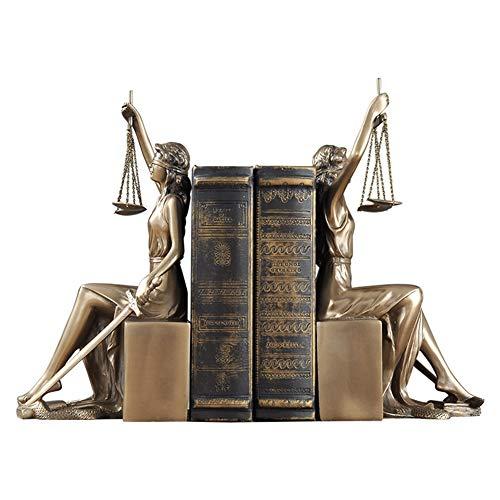 LPRWEC Gold Harz Kreative Skulptur Bronze Göttin der Gerechtigkeit Buchstützen Handgemachte Statue Home Office Decor Schrank Handwerk Kunst Ornamente Skulptur Durable Skulptur Geschenk - Buchstützen Home Decor