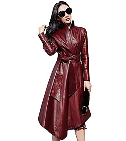 LAI MENG Damen Elegante Slim Fit Stil Trenchcoat in Lederoptik mit Asymmetrische Saum, Lange Jacke in Lederoptik mit Gürtel (Asien 3XL=EU 44, Rot)