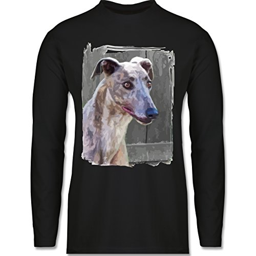 Shirtracer Hunde - Windhund - Herren Langarmshirt Schwarz