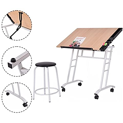 Costway Tiltable Tabletop Drawing Table Craft Art Drafting Easel Folding Desk W/ Stool